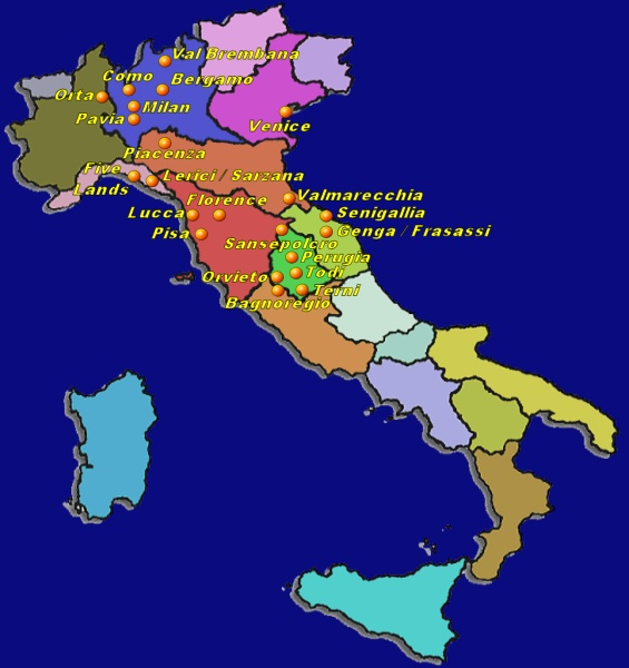 Suggested itineraries in Italy